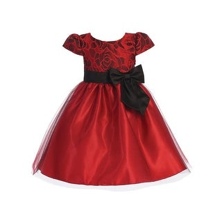 Link to Lito Little Girls Red Black Jacquard Floral Tulle Bow Christmas Dress Similar Items in Girls' Clothing