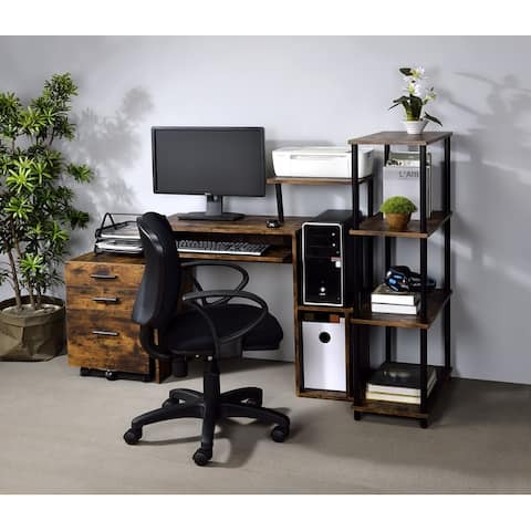 TiramisuBest Writing Computer Desk, Particle Board & Black Finish