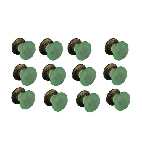 Green Frosted Glass Round Cut Cabinet Knob or Drawer Pull Set of 12 - 1.5 X 2 X 1.5 inches