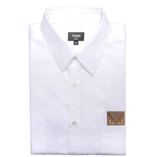 Fendi Men Embroidered Monster Pocket Sport Dress Shirt White