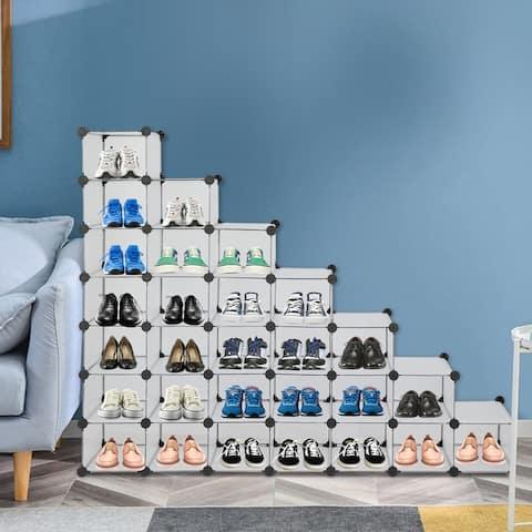 7-Tier Shoe Rack,Space Saving 28-Pair Plastic Shoe Units,Black/White
