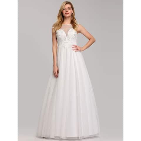 Ever-Pretty Women Elegant Illusion Floral Lace Bridal Gowns Wedding Dresses for Bride 07839