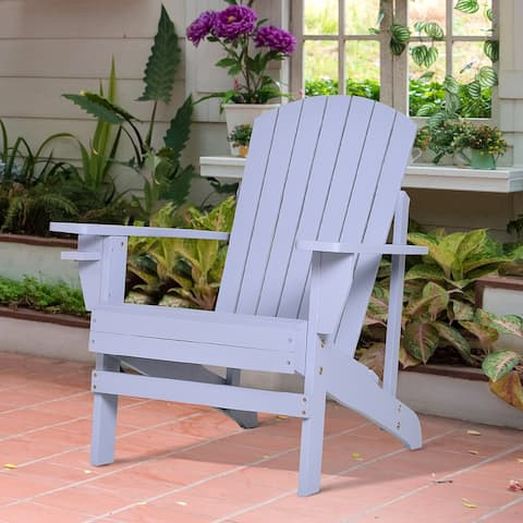 Outsunny Outdoor Classic Wooden Adirondack Deck Lounge Chair with Ergonomic Design & a Built-In Cup Holder