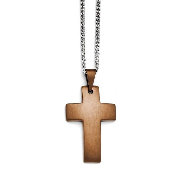 Chisel Stainless Steel Brown IP-Plated Brushed Cross Necklace (2 mm) - 22 in