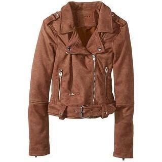 Blanknyc Women's Kids Faux Suede Moto Jacket, Brown, X-Large (Brown) -  [BLANKNYC]