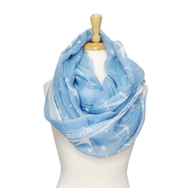 Women's Lightweight Sheer Soft Anchors Infinity Print Scarf