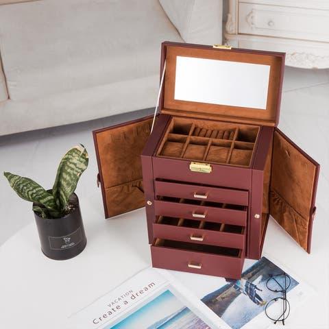 Jewelry Mirrored Watch Box Organizer Necklace Ring Storage Case