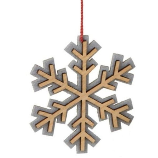 Alpine Chic Wooden Tan and Gray Snowflake Christmas Ornament 4.5""