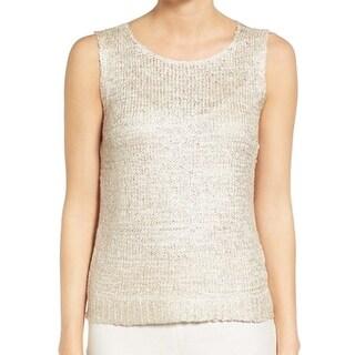 Nic + Zoe NEW Beige Sandshell Women's Size Small S Yarn Knit Tank Top