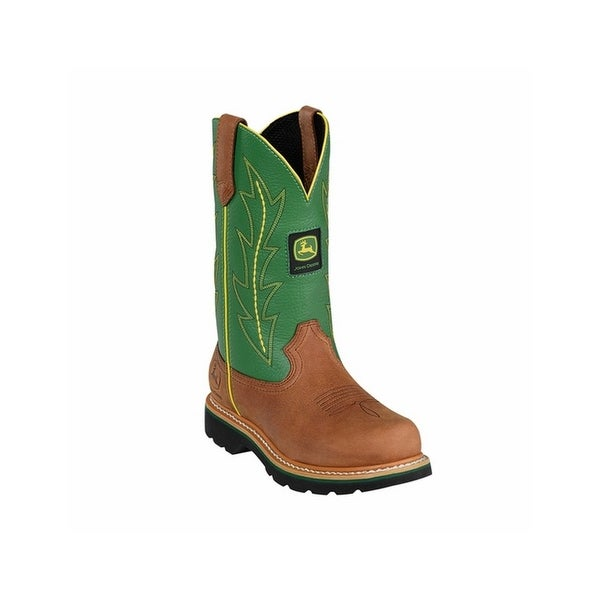 John Deere Work Boots Womens Round Toe Wellington Tan Green