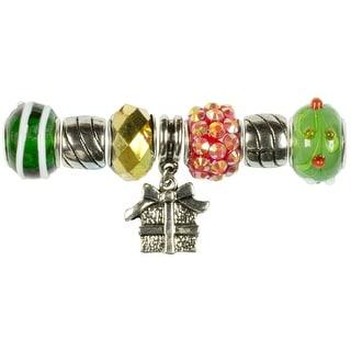 Tis The Season Large Hole Beads-Green & Gold Gift 7/Pkg