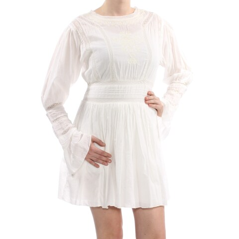 FREE PEOPLE Womens Ivory Embroidered Pleated Bell Sleeve Jewel Neck Mini Fit + Flare Dress Size: 12