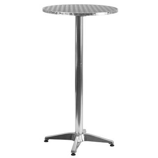 """Offex 25.5"""" Round Aluminum Indoor-Outdoor Folding Bar Height Table With Base"""