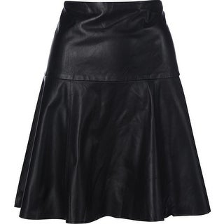 Lauren Ralph Lauren Womens Leather Above Knee Flounce Skirt