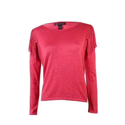 INC International Concepts Women's Mesh Fringe Sweater