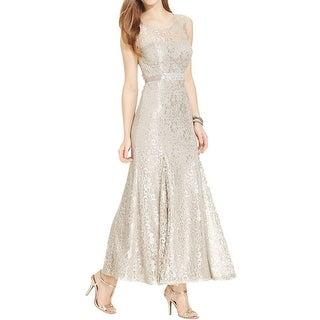 Betsy & Adam Womens Formal Dress Metallic Lace
