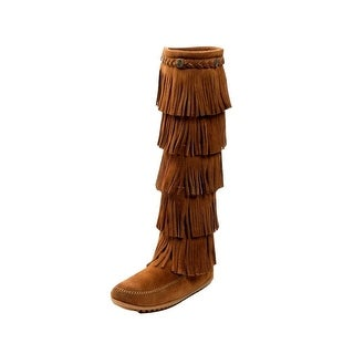 Minnetonka Boots Womens 5 Layer Suede Fringe Wrap Dusty Brown
