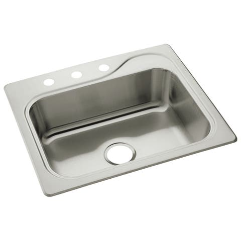 "Sterling 11405-3 Southhaven 25"" Single Basin Drop In Stainless Steel Kitchen Sink with SilentShield - Stainless Steel"