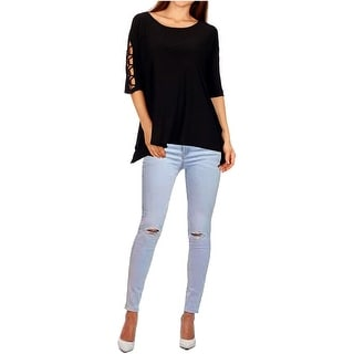 Funfash Plus Size Clothing Women Black Lace Open Shoulders Sleeves Top