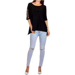 Funfash Plus Size Clothing Women Black Lace Open Shoulders Sleeves Top