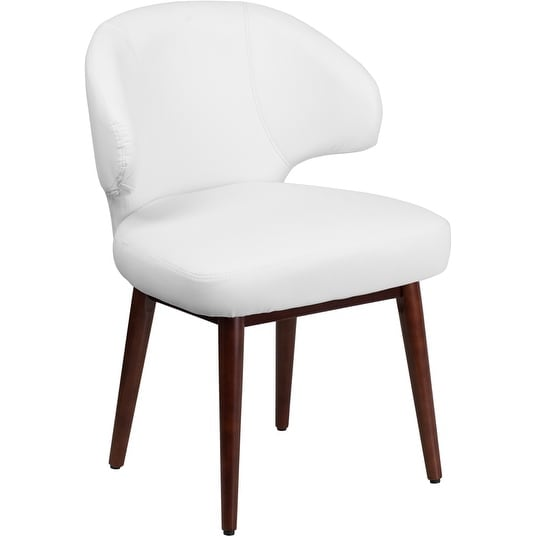 Silkeborg Comfort Back Series White Leather Side Comfortable Reception/Guest Chair w/Walnut Legs
