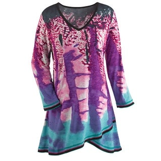 Women's Tunic Top - Bold Jazzy Print Fold-Over design V-neck -Violet