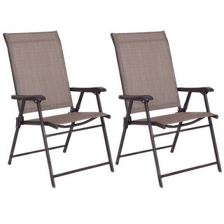 Costway Set of 2 Patio Folding Sling Chairs Furniture Camping Deck Garden Pool Beach