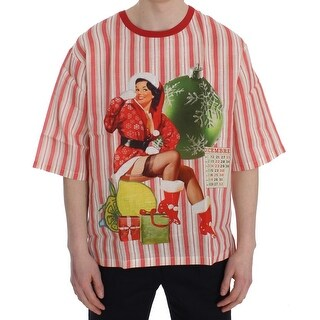 Dolce & Gabbana Red And White Striped DICEMBRE T-Shirt