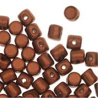 Czech Glass Minos par Puca, Cylindrical Beads 2.5x3mm, 120 Pieces, Matte Bronze Red