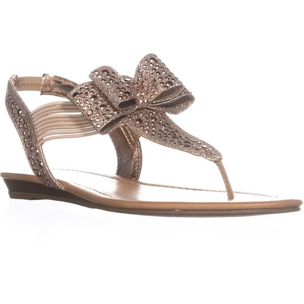 MG35 Shayleen Rhinestone Bow T-Strap Sandals, Rose Gold - 7.5 us