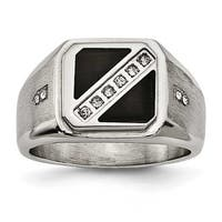 Chisel Stainless Steel Satin & Poilshed with Black Enamel CZ Ring (13 mm)
