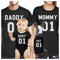 Family Black Matching Shirts Dad Mom Son Daughter Pet Family Black T-Shirt Gift