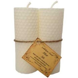 "4 1/4"" Altar set white Lailokens Awen candle"