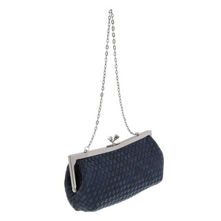 Scheilan Black Fabric Weave Knot Clutch/Shoulder Bag - 9-4.5-2