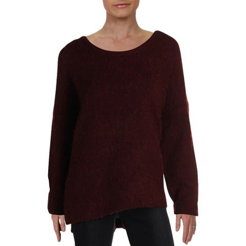 Matty M Womens Pullover Sweater Scoop Neck Sherpa - Bordeaux
