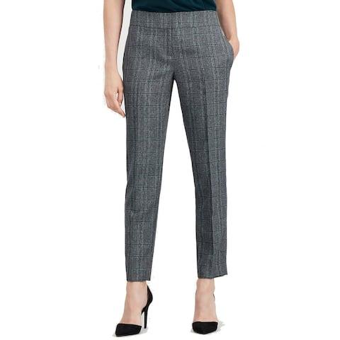 Kasper Women's Gray Black Size 14 Slim Fit Plaid Print Dress Pants