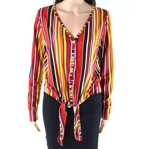 Polly & Esther Yellow Womens Large L Striped Button-Down Knit Top