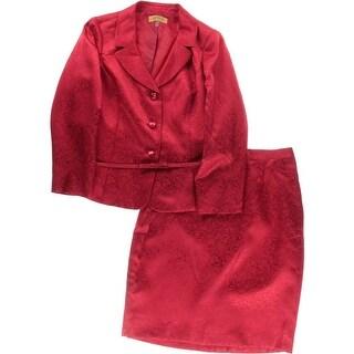 Kasper Womens Plus Crown Jewels Skirt Suit Jacquard 2PC