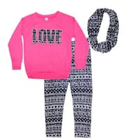 "Little Girls Fuchsia ""Love"" Tribal Long Sleeved Top Scarf Pant Outfit"