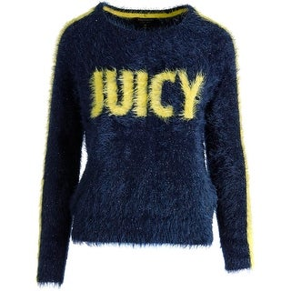 Juicy Couture Black Label Womens Slinky Metallic Textured Pullover Sweater