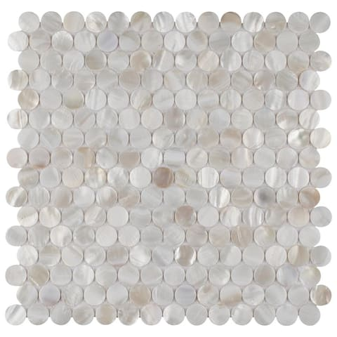 SomerTile 11.5x11.625-inch Seashell Mini Penny White Natural Seashell Mosaic Wall Tile (10 tiles/9.49 sqft.)
