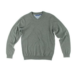 Report Collection Mens Solid Long Sleeve V-Neck Sweater