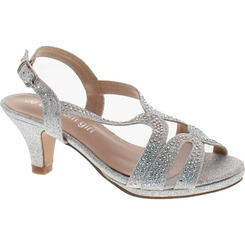 De Blossom Girls K-Stella-3 Stunning Strappy Dress Heel Metallic Party Shoes