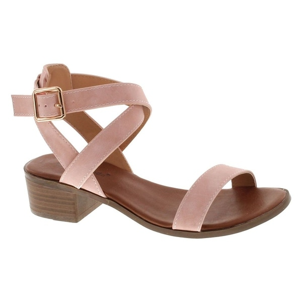 Top Moda Vision-75 Women's Ankle Wrap Adjustable Buckle Stacked Chunky Heel Sandal