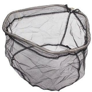 "Unique Bargains 14.6"" x 14.6"" x 8.6"" Nylon Triangle Portable Fishing Landing Net Fish Angler Mesh Black Silver Tone"