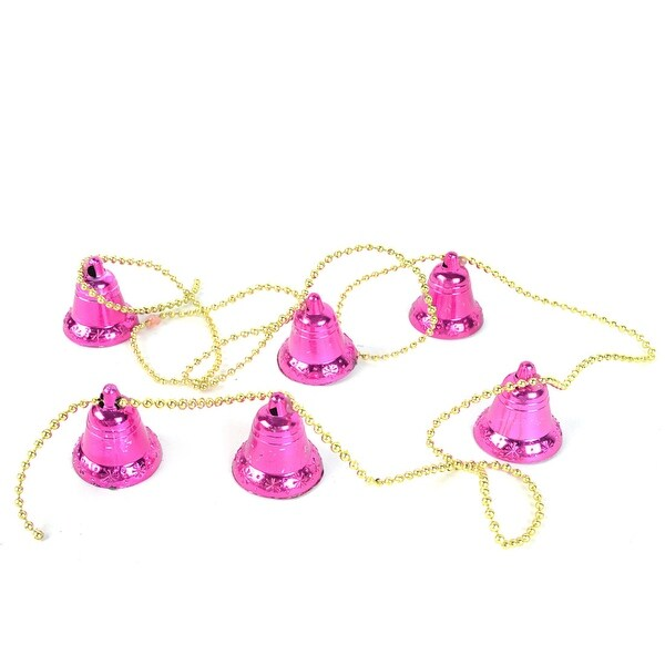 Unique Bargains Glittery Gold Tone Bead Purple Bell Dangled Christmas Tree Hanging Decor