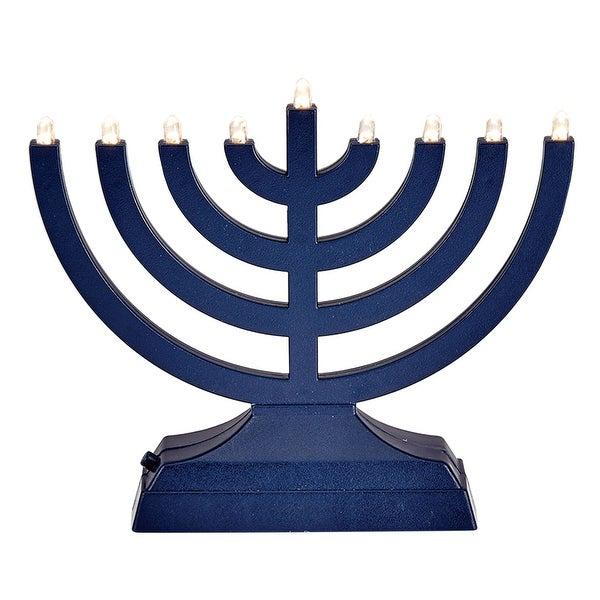 "6"" Matte Navy Blue LED Battery Operated Hanukkah Menorah - N/A"