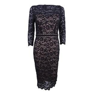 Alex Evenings Women's Plus Beaded Lace Sheath Dress - Black/nude