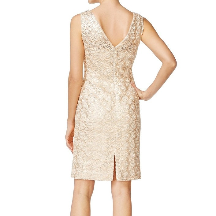 Calvin Klein New Gold Womens Size 6 Sequined Lace Sheath Dress