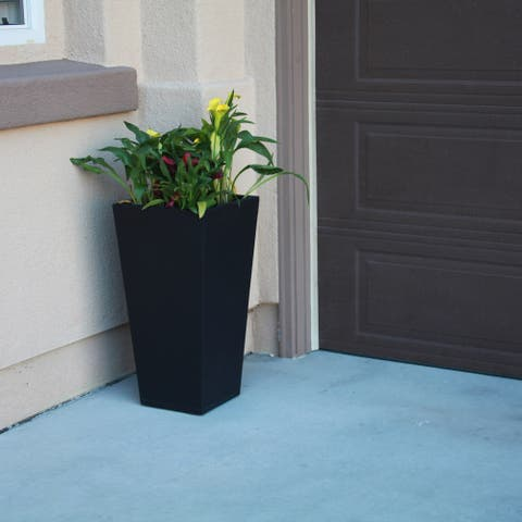 28 in. Tall Burnished Black Lightweight Concrete Modern Tapered Tall Square Indoor/Outdoor Planter